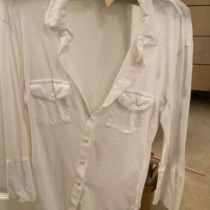 James Perse White Camp Shirt Size 3